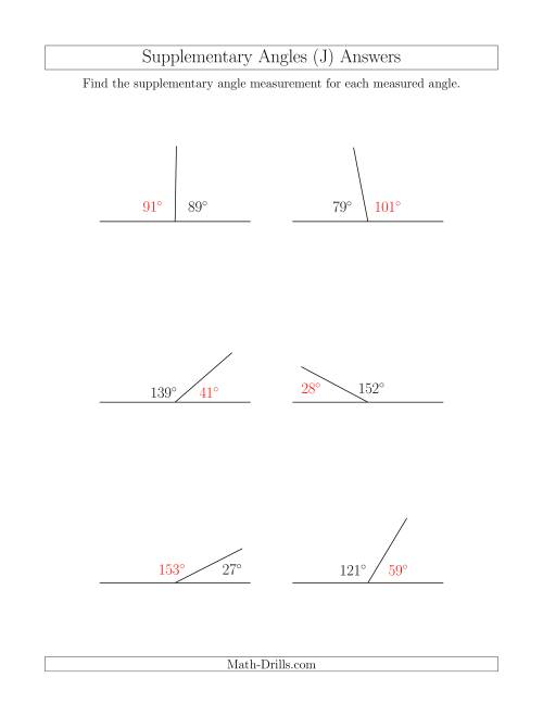 The Supplementary Angle Relationships (J) Math Worksheet Page 2