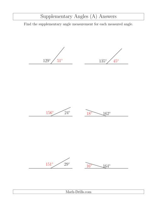 The Supplementary Angle Relationships (All) Math Worksheet Page 2