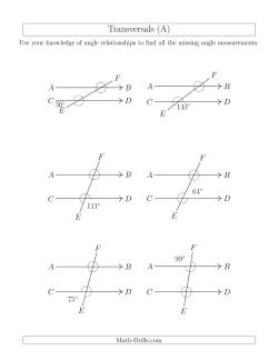 Angle Relationships in Transversals (A)
