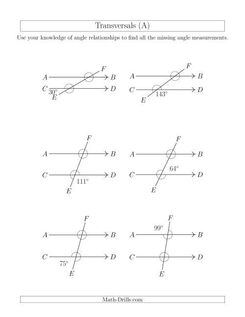 The Angle Relationships in Transversals (A) Geometry Worksheet