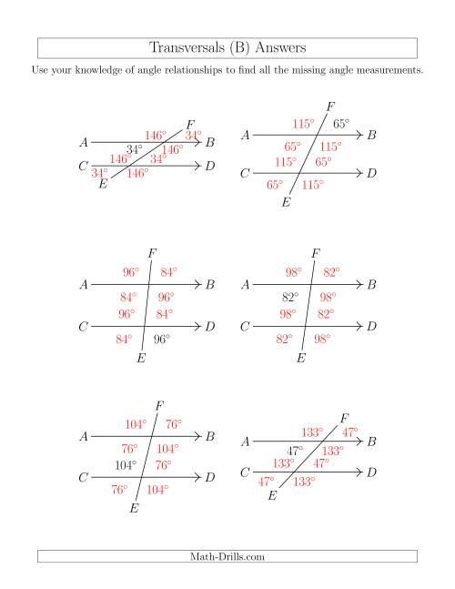 The Angle Relationships in Transversals (B) Math Worksheet Page 2