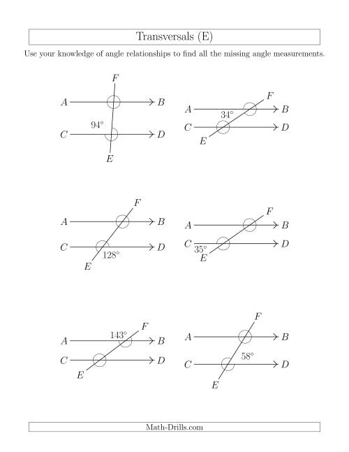 The Angle Relationships in Transversals (E) Math Worksheet