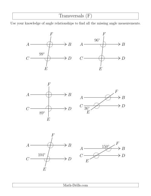 The Angle Relationships in Transversals (F) Math Worksheet