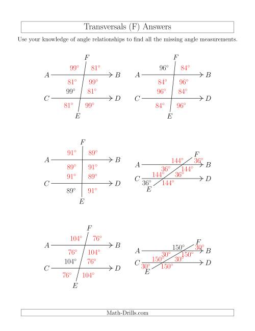 The Angle Relationships in Transversals (F) Math Worksheet Page 2