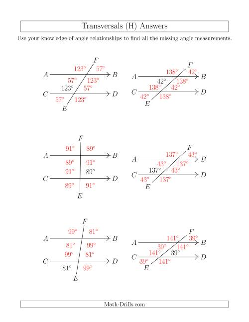 The Angle Relationships in Transversals (H) Math Worksheet Page 2