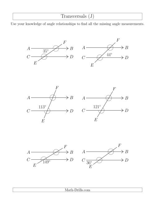 The Angle Relationships in Transversals (J) Math Worksheet