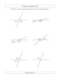 Vertical Angle Relationships (A)