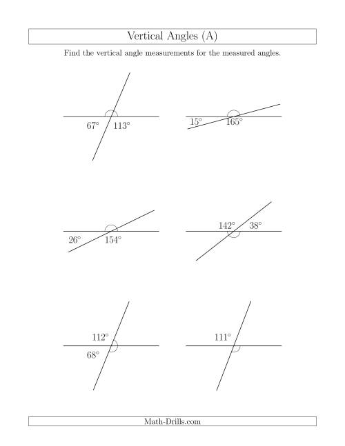 The Vertical Angle Relationships (A) Math Worksheet