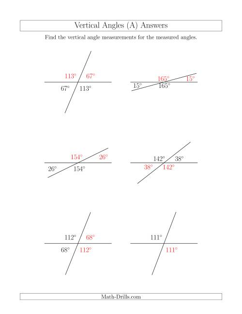 The Vertical Angle Relationships (A) Math Worksheet Page 2