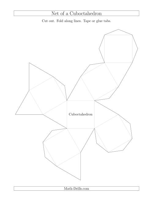 The Net of a Cuboctahedron Math Worksheet