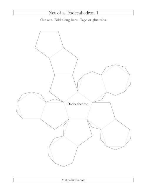 The Net of a Dodecahedron Version 1 Math Worksheet