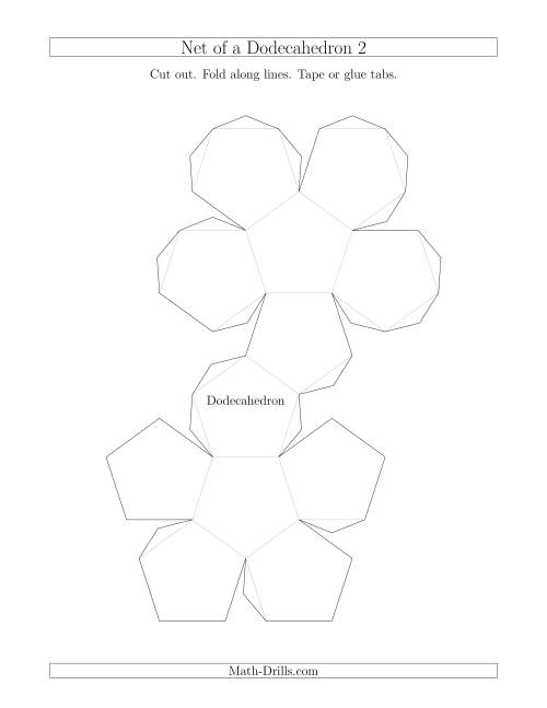The Net of a Dodecahedron Version 2 Math Worksheet