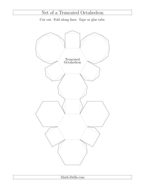 The Net of a Truncated Octahedron Math Worksheet
