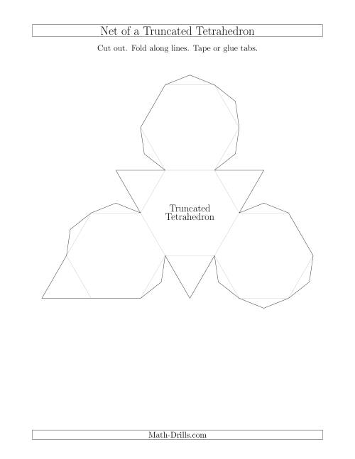 The Net of a Truncated Tetrahedron Math Worksheet