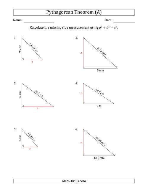worksheet Pythagoras Theorem Worksheet calculate a cathetus using pythagorean theorem no rotation the math worksheet