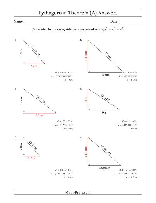 The Calculate a Cathetus Using Pythagorean Theorem (No Rotation) (A) Math Worksheet Page 2