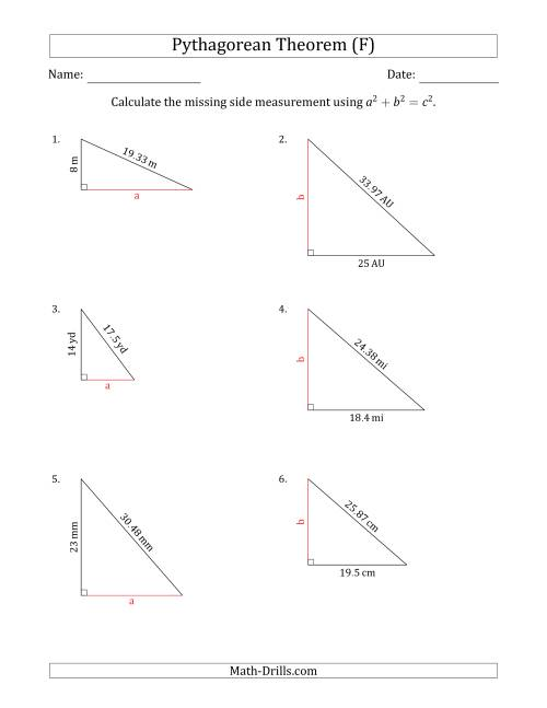 The Calculate a Cathetus Using Pythagorean Theorem (No Rotation) (F) Math Worksheet