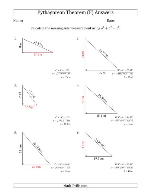 The Calculate a Cathetus Using Pythagorean Theorem (No Rotation) (F) Math Worksheet Page 2