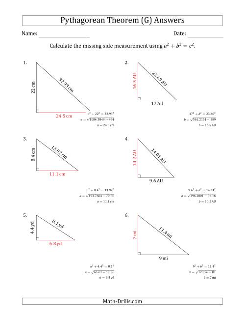 The Calculate a Cathetus Using Pythagorean Theorem (No Rotation) (G) Math Worksheet Page 2