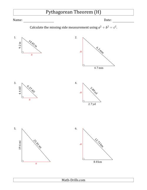 The Calculate a Cathetus Using Pythagorean Theorem (No Rotation) (H) Math Worksheet