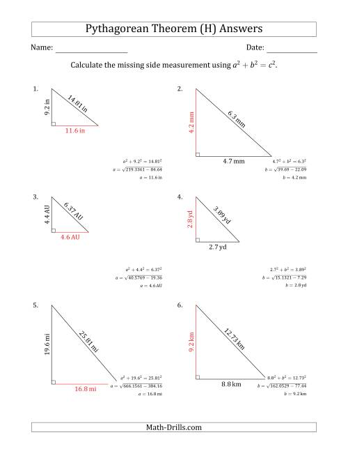 The Calculate a Cathetus Using Pythagorean Theorem (No Rotation) (H) Math Worksheet Page 2