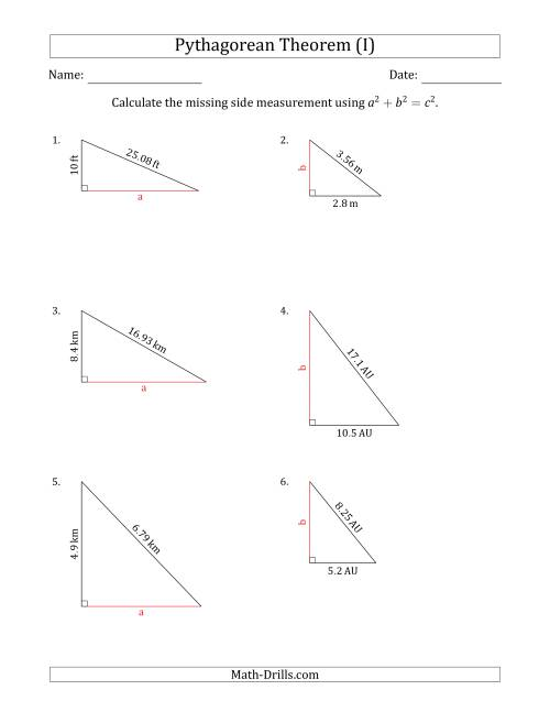 The Calculate a Cathetus Using Pythagorean Theorem (No Rotation) (I) Math Worksheet