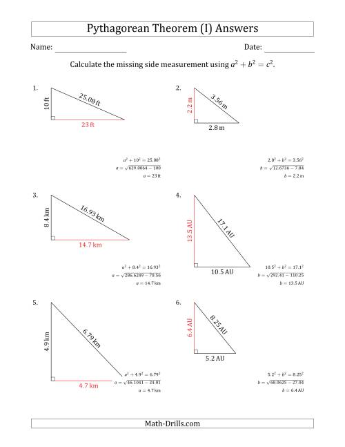 The Calculate a Cathetus Using Pythagorean Theorem (No Rotation) (I) Math Worksheet Page 2