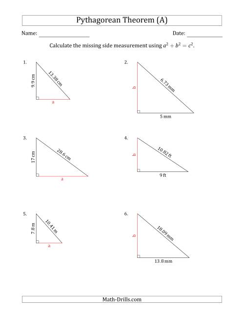 The Calculate a Cathetus Using Pythagorean Theorem (No Rotation) (All) Math Worksheet