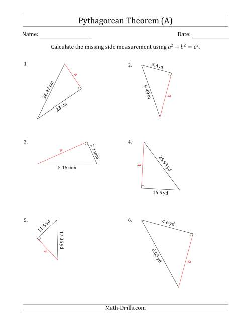 The Calculate a Cathetus Using Pythagorean Theorem (A) Math Worksheet