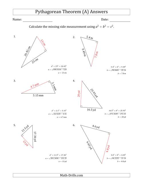Calculate a Cathetus Using Pythagorean Theorem (A)