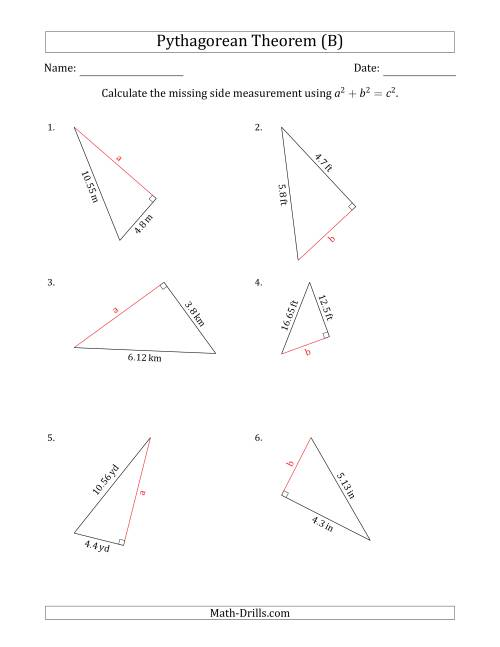 Calculate a Cathetus Using Pythagorean Theorem (B)