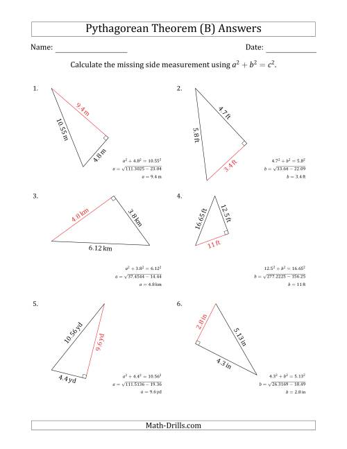 Calculate a Cathetus Using Pythagorean Theorem (B)