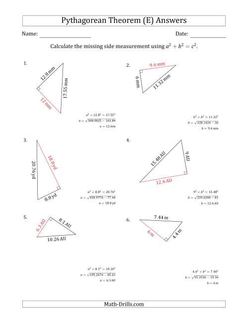 Calculate a Cathetus Using Pythagorean Theorem (E)