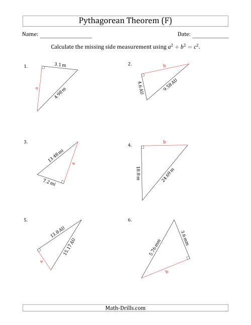 Calculate a Cathetus Using Pythagorean Theorem (F)