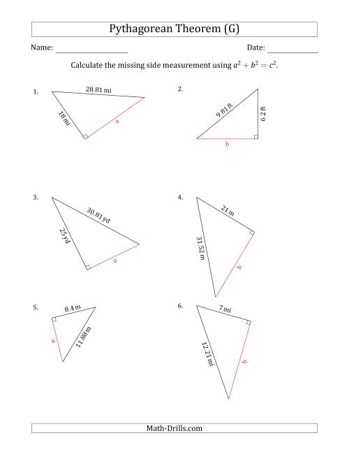 Calculate a Cathetus Using Pythagorean Theorem (G)