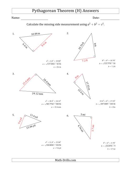 Calculate a Cathetus Using Pythagorean Theorem (H)