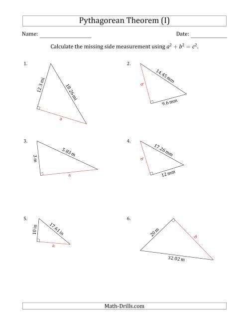Calculate a Cathetus Using Pythagorean Theorem (I)