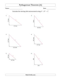 Calculate the Hypotenuse Using Pythagorean Theorem (No Rotation)