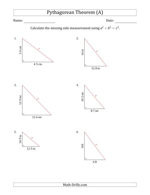 Calculate the Hypotenuse Using Pythagorean Theorem (No