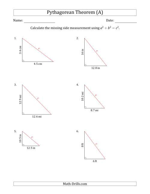 Calculate the Hypotenuse Using Pythagorean Theorem (No