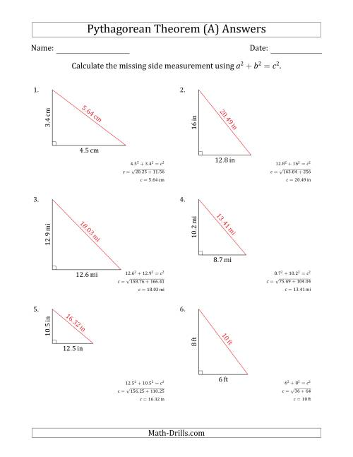 The Calculate the Hypotenuse Using Pythagorean Theorem (No Rotation) (A) Math Worksheet Page 2