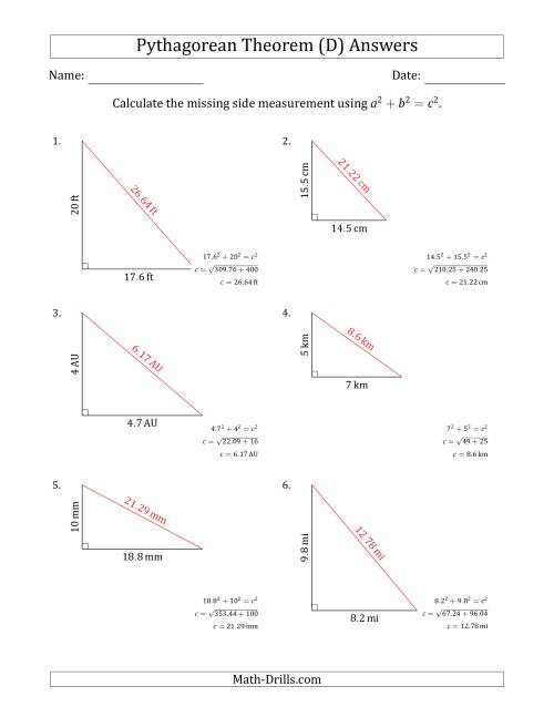 The Calculate the Hypotenuse Using Pythagorean Theorem (No Rotation) (D) Math Worksheet Page 2