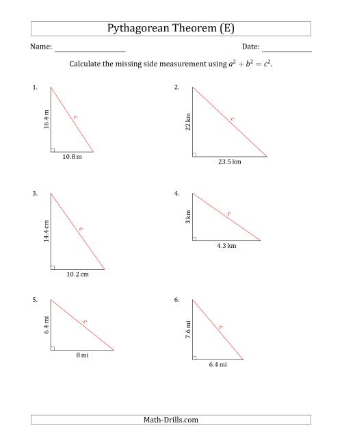 The Calculate the Hypotenuse Using Pythagorean Theorem (No Rotation) (E) Math Worksheet