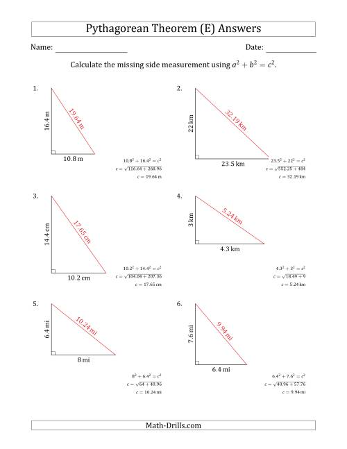 The Calculate the Hypotenuse Using Pythagorean Theorem (No Rotation) (E) Math Worksheet Page 2