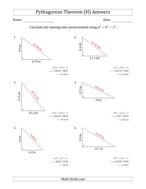 The Calculate the Hypotenuse Using Pythagorean Theorem (No Rotation) (H) Math Worksheet Page 2