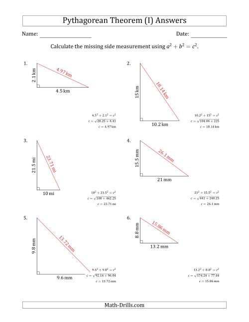 The Calculate the Hypotenuse Using Pythagorean Theorem (No Rotation) (I) Math Worksheet Page 2