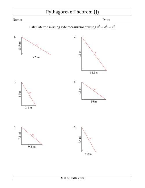 The Calculate the Hypotenuse Using Pythagorean Theorem (No Rotation) (J) Math Worksheet