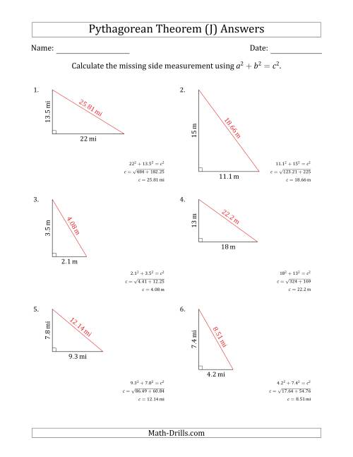 The Calculate the Hypotenuse Using Pythagorean Theorem (No Rotation) (J) Math Worksheet Page 2
