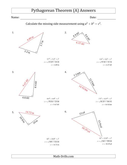 ... The Calculate The Hypotenuse Using Pythagorean Theorem (A) Math  Worksheet Page 2