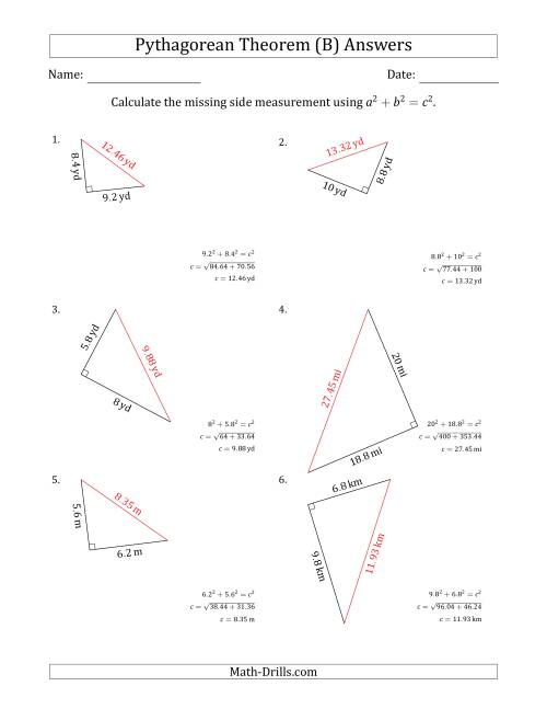 The Calculate the Hypotenuse Using Pythagorean Theorem (B) Math Worksheet Page 2